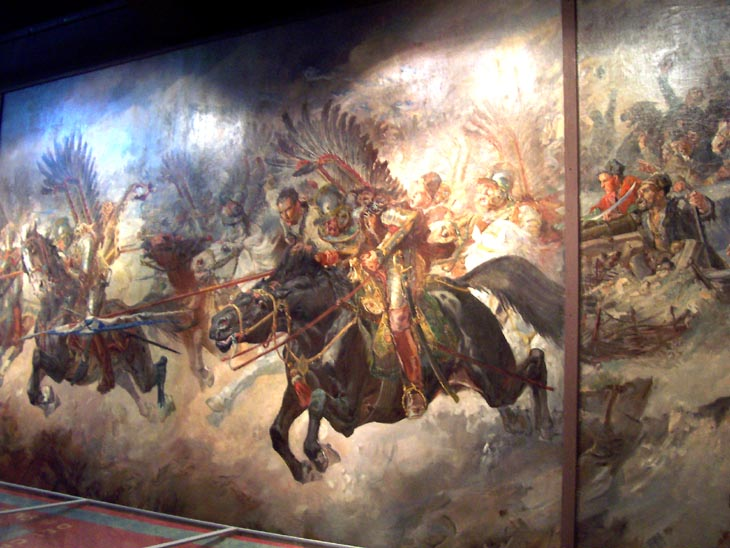 Charge of winged husaria. A picture in the museum.