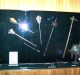 Helmet of Polish winged hussar and hussar weapons: flanged maces, buzdurgan and a horseman's pick